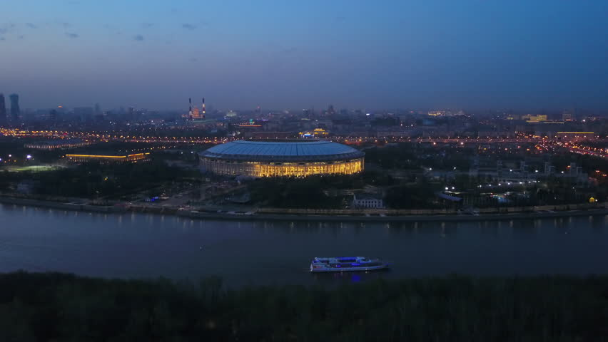 sunset night moscow famous  stadium sparrow hills cityscape aerial panorama 4k russia