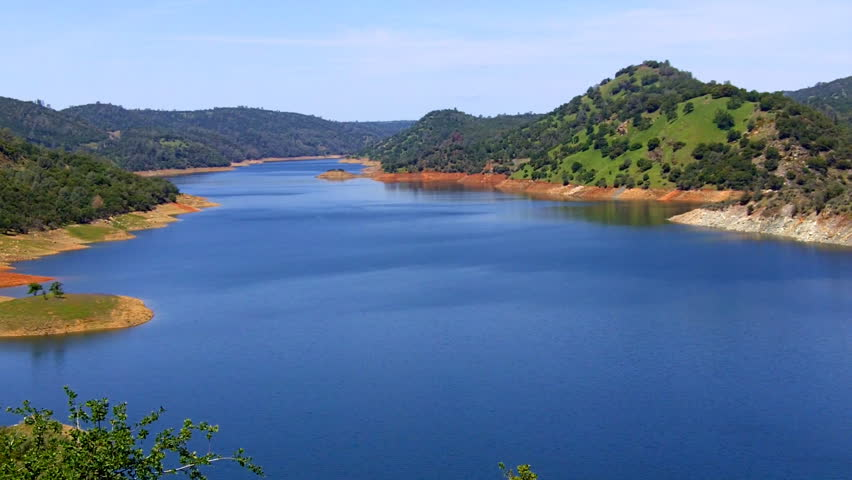 A section of Lake Don Pedro Reservoir near Mariposa, CA which supplies water to