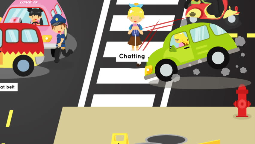 Animation gifographic accidents injuries danger and safety caution on traffic road cause by cars bicycle and careless people. Danger on street infographic with sign in funny kid cartoon for education