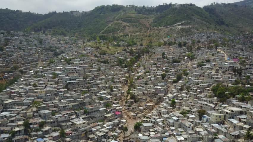 Port-au-Prince, Haiti - April 7, 2017: Drone aerial view of houses in Port-au-Prince, Haiti