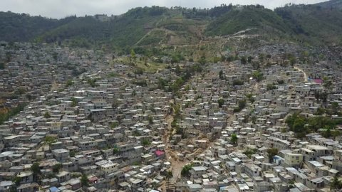 Port-au-Prince, Haiti - April 7, 2017: Drone aerial view of houses in Port-au-Prince, Haiti