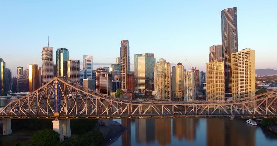 Aerial Drone Brisbane Bridge Downtown Sunrise City
