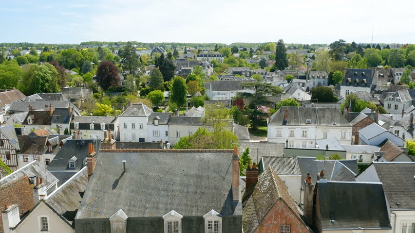 Aerial view of houses rooftops, rooftop and architecture in Amboise, Indre-et-Loire, Loire Valley, France,
