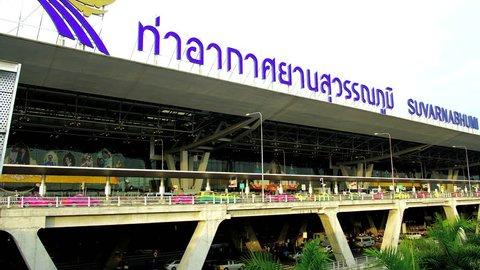 Bangkok, Thailand - May 12 , 2017 : Time lapse view of Suvarnabhumi Airport. Suvarnabhumi Airport is one of two international airports serving Bangkok