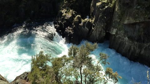 Aerial view of Aratiatia Rapids on the Waikato River after the spill gates of the hydroelectric dam at the top of the narrow gorge have been opened near Taupo in the North Island of New Zealand.