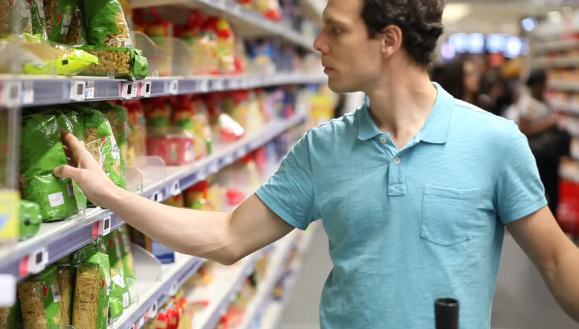 Man in supermarket, food shopping | Shutterstock HD Video #26918365