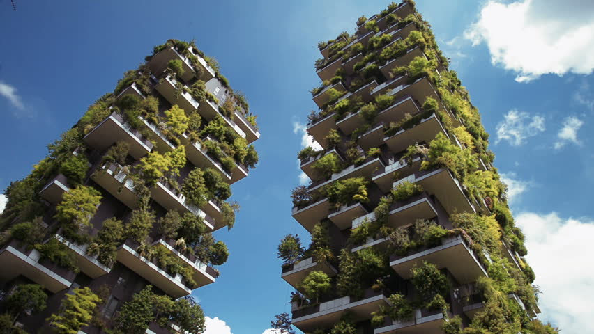 Milan, Italy - Mai 2017: Bosco Verticale or Vertical Forest is the Best tall building worldwide. Is composed of two residential towers with a large variety of trees and plants on the balconies.