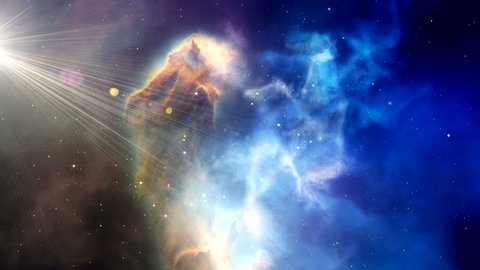 News Nebula blue sky abstract seamless loop Universe age Space Shuttle background Camera flying idea zoom through Star fly past oxygen against cloud computing transmitter animation through glowing sun
