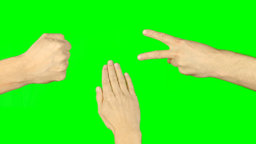 Rock paper scissors hand game. Three hands top view. Green screen chroma key alpha matte. Man hand gestures competition. Make choice. Random selection methods. Winner loser tournament. Playful game.