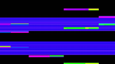 Abstract Colorful Pixel Error Glitch Video Damage on Black Background