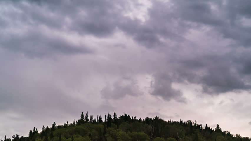 Time lapse of moving gray clouds under over firs tops of mountain forest.