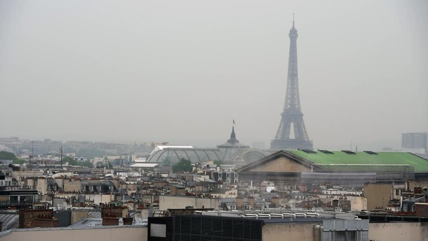 Raining day in Paris. Panoramic view of Paris with Eiffel tower | Shutterstock HD Video #27018325