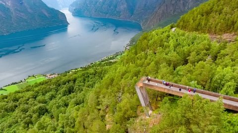 Stegastein Lookout Beautiful Nature Norway aerial view. Sognefjord or Sognefjorden, Norway Flam