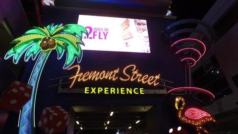 The Fremont street experience at Downtown Las Vegas - LAS VEGAS / NEVADA - APRIL 22, 2017