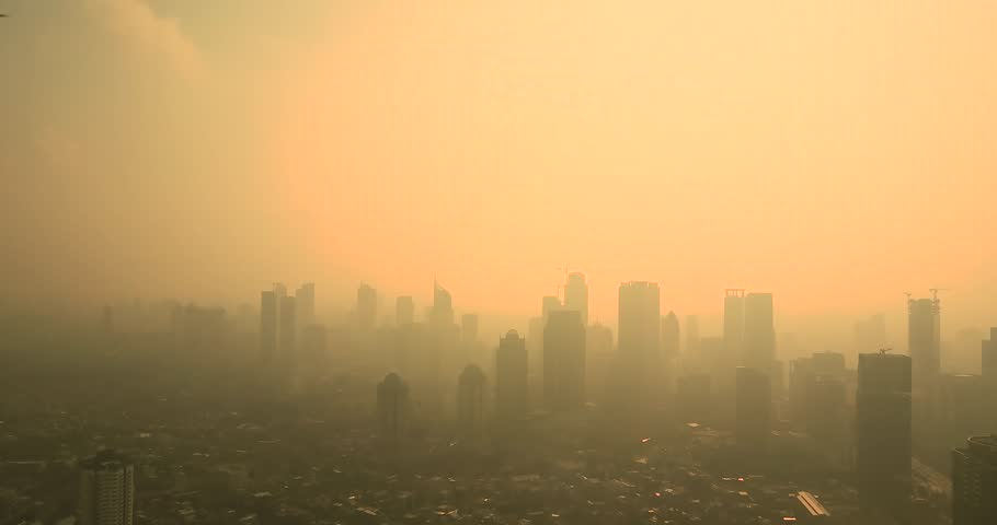 Los angeles smog downtown metropolitan city haze sunlight video footage of bird view of jakarta city with skyscrapers and air pollution in the morning sciox Gallery
