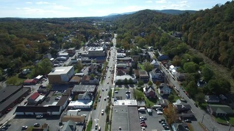 Aerial views of Berkeley Springs, WV revealing the intimacy and grandness of the mountains and countryside that surround this small town
