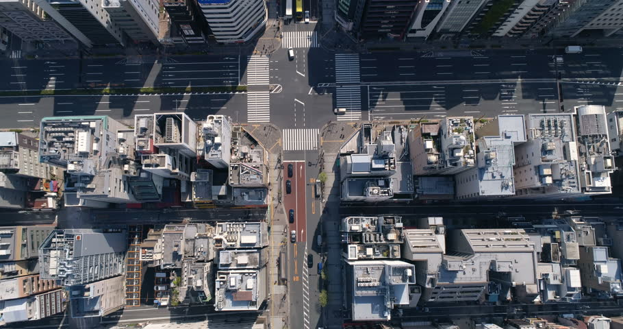 Aerial top shot of Tokyo street and buildings, urban area, Japan | Shutterstock HD Video #27049336