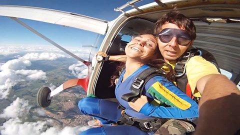 Skydiving tandem selfie