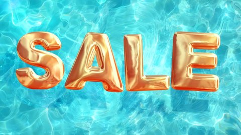 water pool top view of summer sale, loop background of crystal clear water with sale sign looks like balloons, 3d animation elements with alpha channel