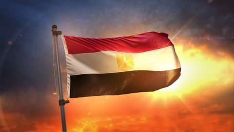 Egypt Flag Backlit At Beautiful Sunrise Loop Slow Motion 3D Rendering 4K