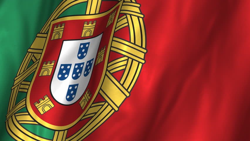 A beautiful satin finish looping flag animation of Portugal.   A fully digital rendering using the official flag design in a waving, full frame composition.  The animation loops at 10 seconds.