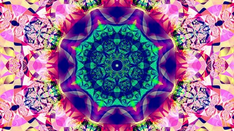 Pastel kaleidoscope sequence patterns. 4k. Abstract multicolored motion graphics background. Or for yoga, clubs, shows, mandala, fractal animation. Beautiful bright ornament. Seamless loop.