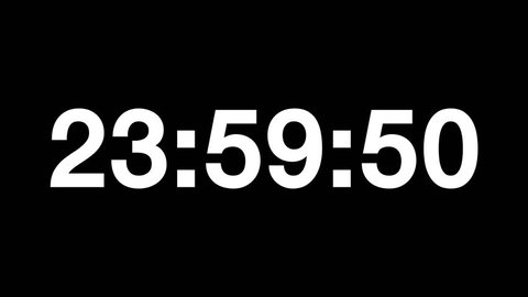 Countdown of 24 hours. Digital clock - white numbers on black background. Timer with minutes and seconds.