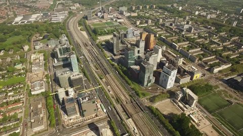 Aerial of Amsterdam with the financial office area known as the south axis - Zuid As