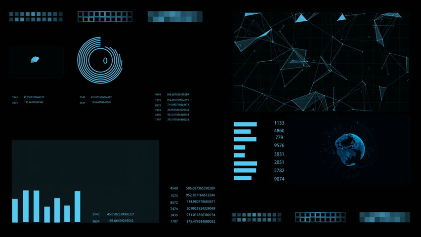 HUD. Futuristic Interface with animated digital earth and diagrams