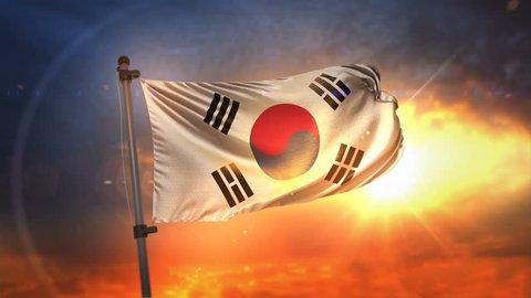 South Korea Flag Backlit At Beautiful Sunrise Loop Slow Motion 4K