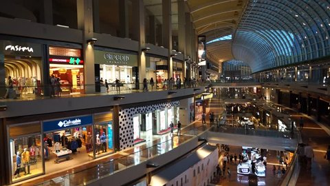 Singapore, Singapore - May 29, 2017 : The Shoppes at Marina Bay Sands is one of Singapore's largest luxury shopping malls, with over 800,000 square feet of high-end retail shoppes