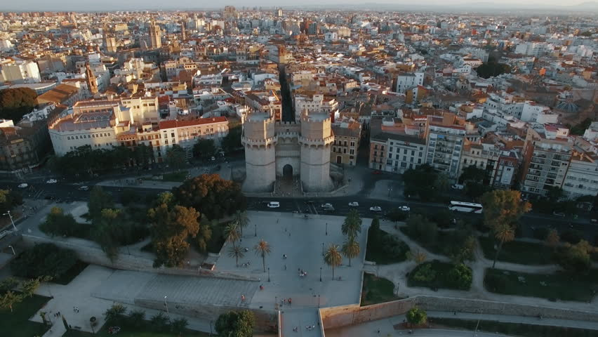 Aerial Panorama Of Valencia With Ancient Serranos Towers Built Between 1392 And 1398 Historical City