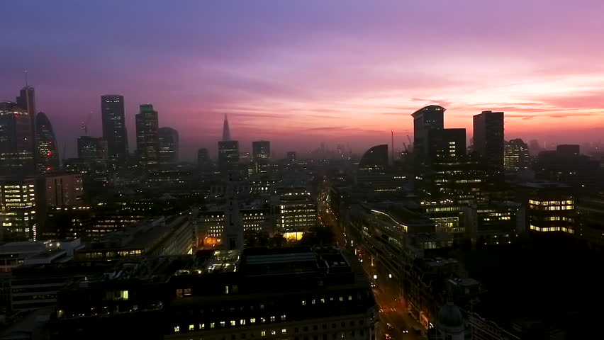 Iconic London Skyscrapers Aerial Panoramic Shot at Dusk Night Time with Beautiful Sky feat. Iconic Business Buildings in London, England UK  | Shutterstock HD Video #27230275