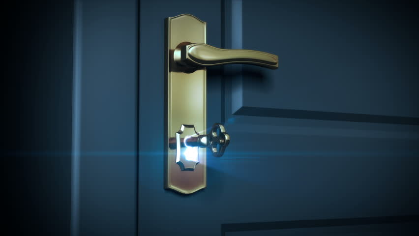 Key unlocking lock and door opening to a bright light. HD 1080. Alpha mask included. | Shutterstock HD Video #2725058