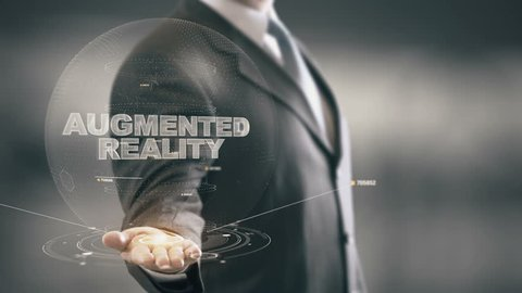Augmented Reality with hologram businessman concept