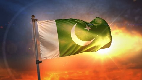 Pakistan Flag Backlit At Beautiful Sunrise Loop Slow Motion 4K
