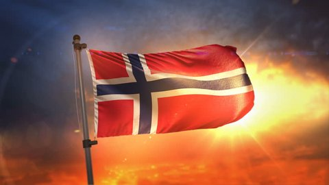 Norway Flag Backlit At Beautiful Sunrise Loop Slow Motion 4K