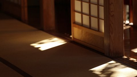 Light and shadow of tradition Japanese house. selective focus and low key toned image.