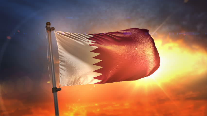 Qatar Flag Backlit At Beautiful Sunrise Loop Slow Motion 4K