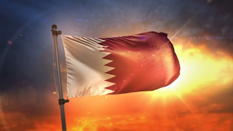 Qatar Flag Backlit At Beautiful Sunrise Loop Slow Motion 4K