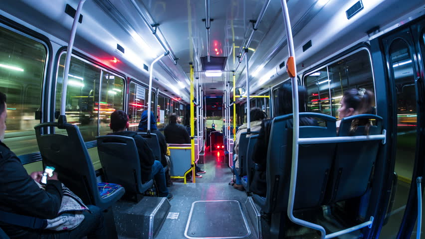 BUENOS AIRES, ARGENTINA – SEPTEMBER 12: Time-lapse view of a journey with the public transport bus at night on September 12, 2016 in Buenos Aires, Argentina.