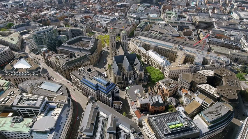 Aerial View Orbiting Gothic Brabant Church St Michael and St Gudula Cathedral in Brussels Belgium 4K   Shutterstock HD Video #27329671