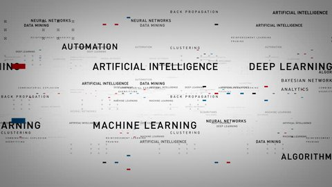 Keywords Artificial Intelligence White - Important terms about artificial intelligence drift through cyberspace. All clips are available in multiple color options. All clips loop seamlessly.