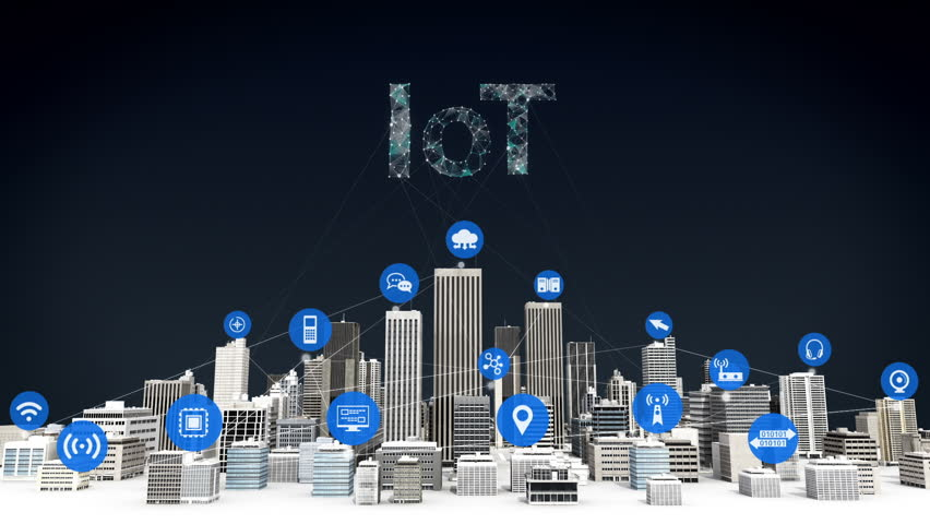 Things sensor icon on Smart city, connecting grid typo 'IOT' concept.