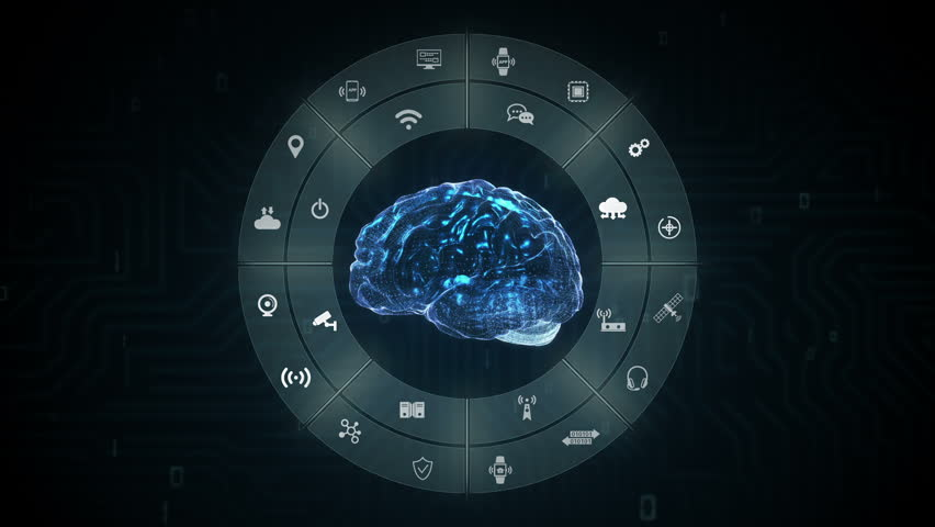 Blue Digital brain, icon of Internet of things technology, artificial intelligence.