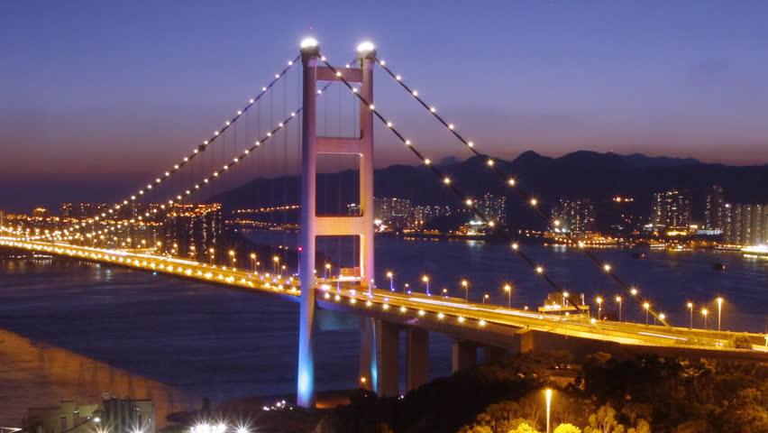 Time lapse of  Tsing Ma Bridge at night - Tsing Ma Bridge is a bridge in Hong Kong. It is the world's seventh-longest span suspension bridge.