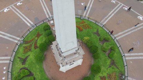 tilting up circling May Pyramid in Plaza de Mayo Buenos Aires