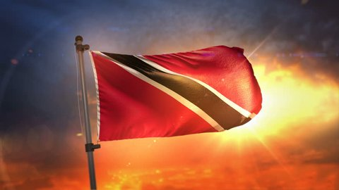 Trinidad and Tobago Flag Backlit At Beautiful Sunrise Loop Slow Motion 3D Rendering 4K