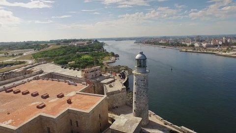 Drone flying over Havana, Cuba: Morro Castle and ocean. Aerial view of La Habana skyline, Cuban capital city. Urban landscape seen from the sky with old monument, landmark, Caribbean sea