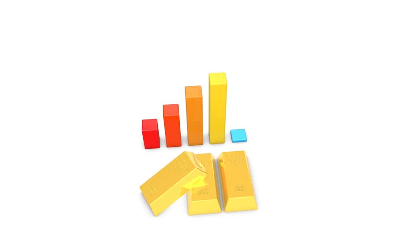 3d animation of gold bullion and rising bar graph
